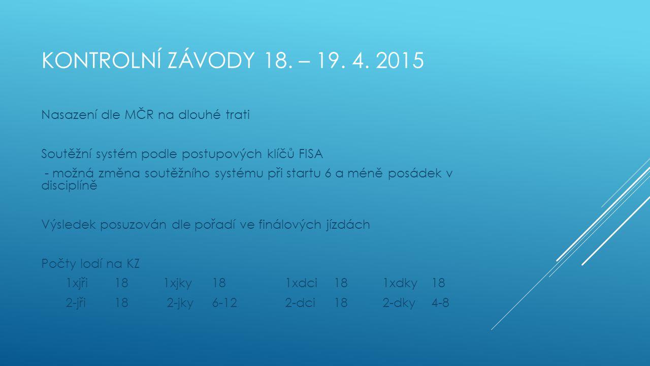 KONTROLNÍ ZÁVODY 18. – 19. 4. 2015 Nasazení dle MČR na dlouhé trati Soutěžní systém podle postupových klíčů FISA - možná změna soutěžního systému při