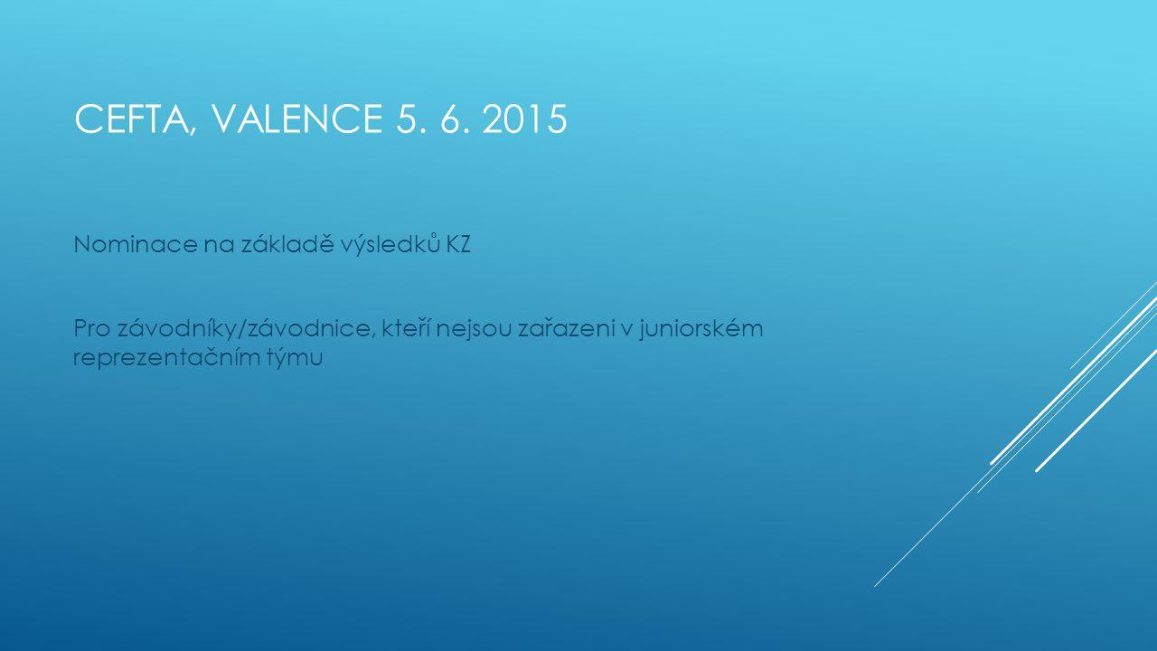 CEFTA, VALENCE 5. 6. 2015 Nominace na základě výsledků KZ Pro závodníky/závodnice, kteří nejsou zařazeni v juniorském reprezentačním týmu