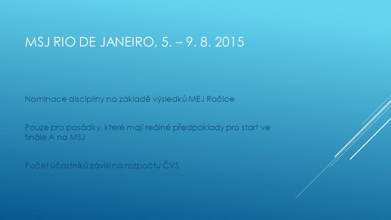 MSJ RIO DE JANEIRO, 5. – 9. 8. 2015 Nominace disciplíny na základě výsledků MEJ Račice Pouze pro posádky, které mají reálné předpoklady pro start ve f
