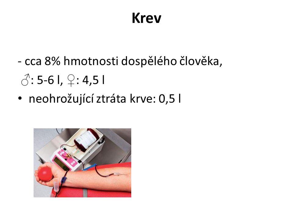 Krev - cca 8% hmotnosti dospělého člověka, ♂ : 5-6 l, ♀ : 4,5 l neohrožující ztráta krve: 0,5 l