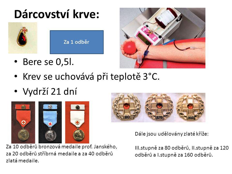 Dárcovství krve: Bere se 0,5l. Krev se uchovává při teplotě 3°C. Vydrží 21 dní Za 10 odběrů bronzová medaile prof. Janského, za 20 odběrů stříbrná med