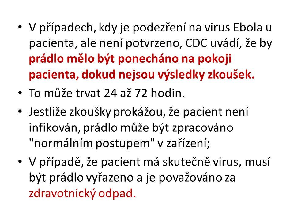 V případech, kdy je podezření na virus Ebola u pacienta, ale není potvrzeno, CDC uvádí, že by prádlo mělo být ponecháno na pokoji pacienta, dokud nejs