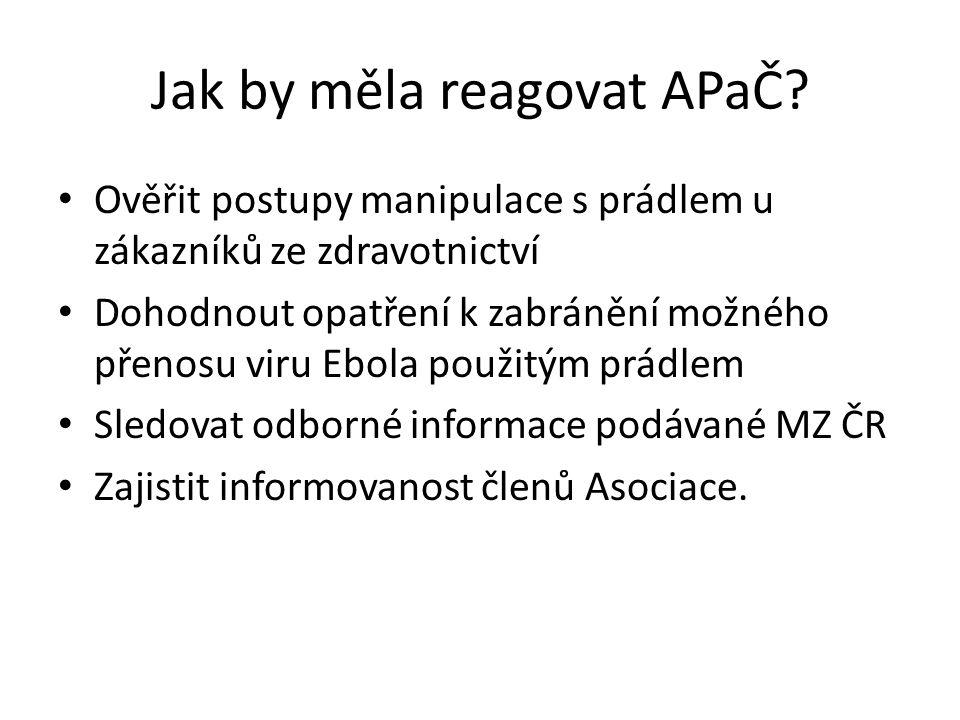 Jak by měla reagovat APaČ? Ověřit postupy manipulace s prádlem u zákazníků ze zdravotnictví Dohodnout opatření k zabránění možného přenosu viru Ebola