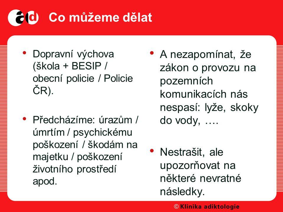 Co můžeme dělat Dopravní výchova (škola + BESIP / obecní policie / Policie ČR).