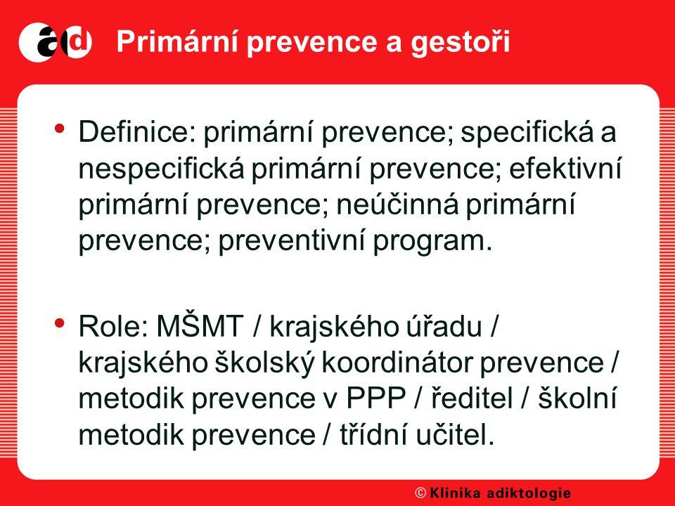 Primární prevence a gestoři Definice: primární prevence; specifická a nespecifická primární prevence; efektivní primární prevence; neúčinná primární prevence; preventivní program.