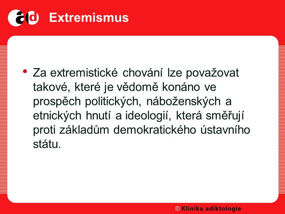 Extremismus Za extremistické chování lze považovat takové, které je vědomě konáno ve prospěch politických, náboženských a etnických hnutí a ideologií, která směřují proti základům demokratického ústavního státu.