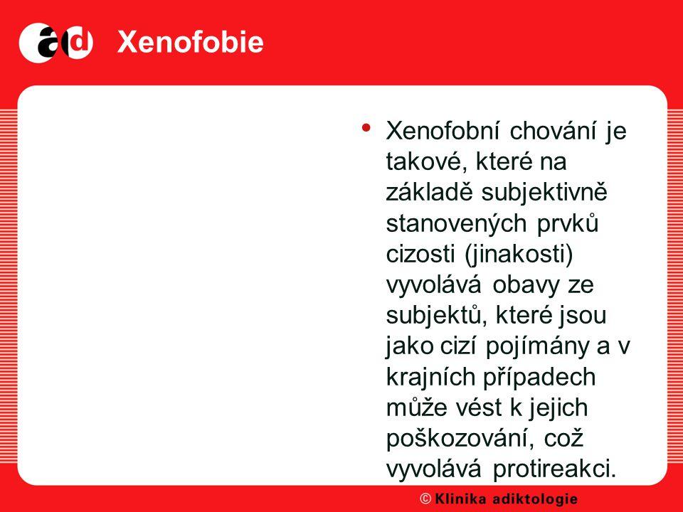 Xenofobie Xenofobní chování je takové, které na základě subjektivně stanovených prvků cizosti (jinakosti) vyvolává obavy ze subjektů, které jsou jako cizí pojímány a v krajních případech může vést k jejich poškozování, což vyvolává protireakci.