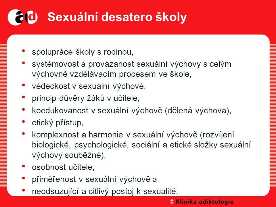 Sexuální desatero školy spolupráce školy s rodinou, systémovost a provázanost sexuální výchovy s celým výchovně vzdělávacím procesem ve škole, vědeckost v sexuální výchově, princip důvěry žáků v učitele, koedukovanost v sexuální výchově (dělená výchova), etický přístup, komplexnost a harmonie v sexuální výchově (rozvíjení biologické, psychologické, sociální a etické složky sexuální výchovy souběžně), osobnost učitele, přiměřenost v sexuální výchově a neodsuzující a citlivý postoj k sexualitě.