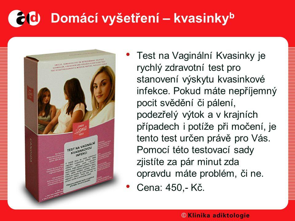 Domácí vyšetření – kvasinky b Test na Vaginální Kvasinky je rychlý zdravotní test pro stanovení výskytu kvasinkové infekce.