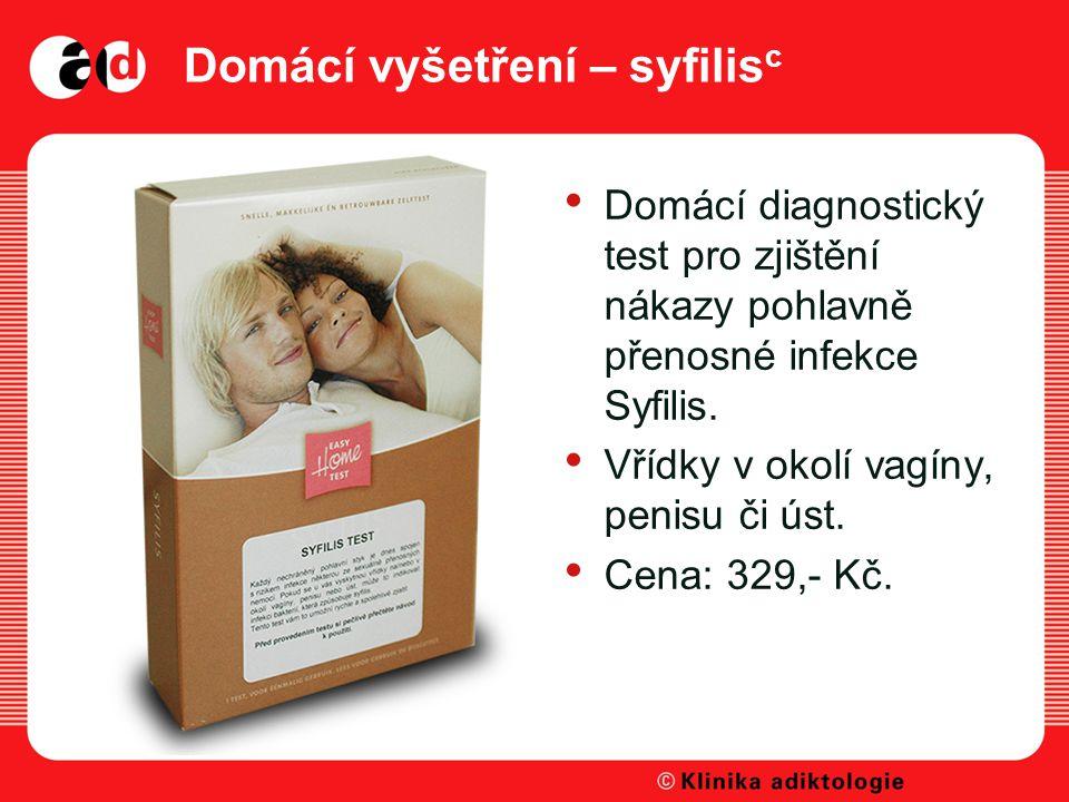 Domácí vyšetření – syfilis c Domácí diagnostický test pro zjištění nákazy pohlavně přenosné infekce Syfilis.