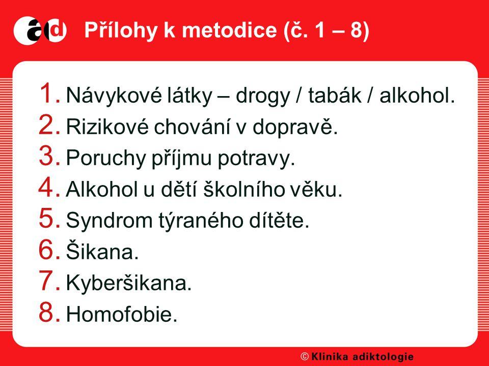 Přílohy k metodice (č.1 – 8) 1. Návykové látky – drogy / tabák / alkohol.