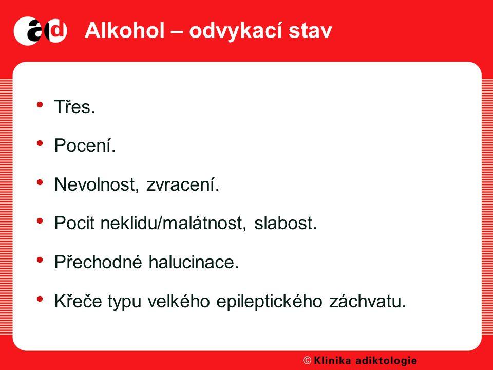 Alkohol – odvykací stav Třes.Pocení. Nevolnost, zvracení.