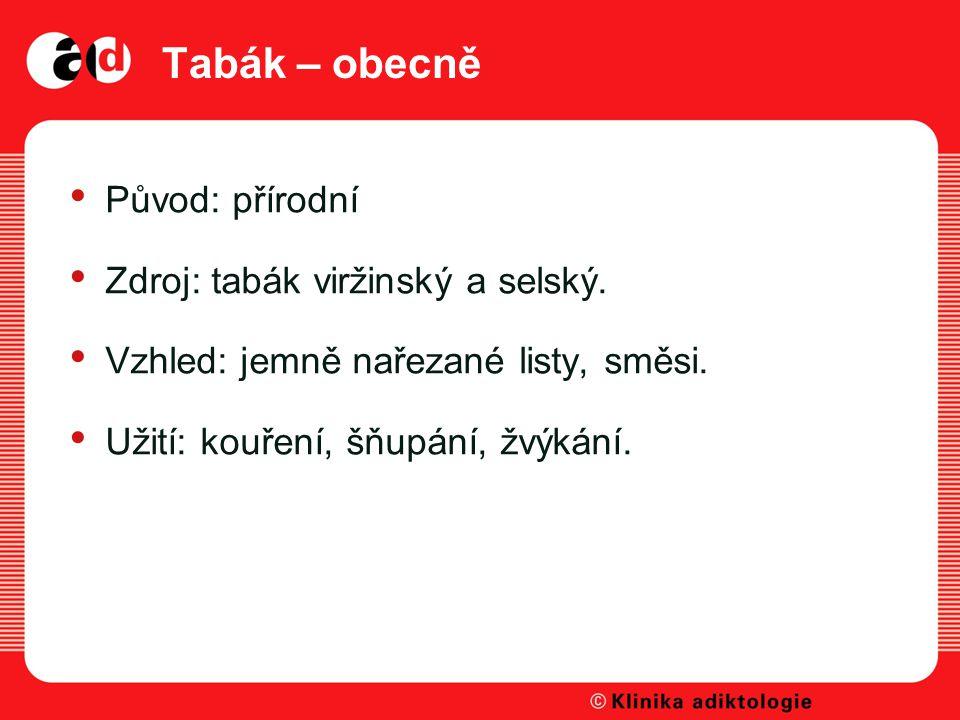 Tabák – obecně Původ: přírodní Zdroj: tabák viržinský a selský.