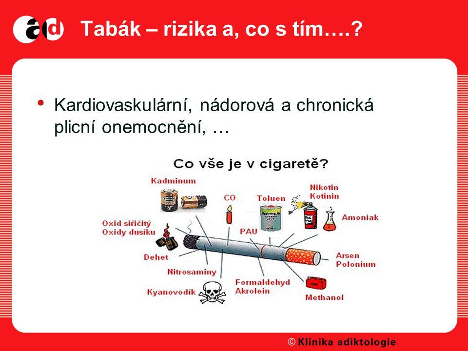 Tabák – rizika a, co s tím….? Kardiovaskulární, nádorová a chronická plicní onemocnění, …