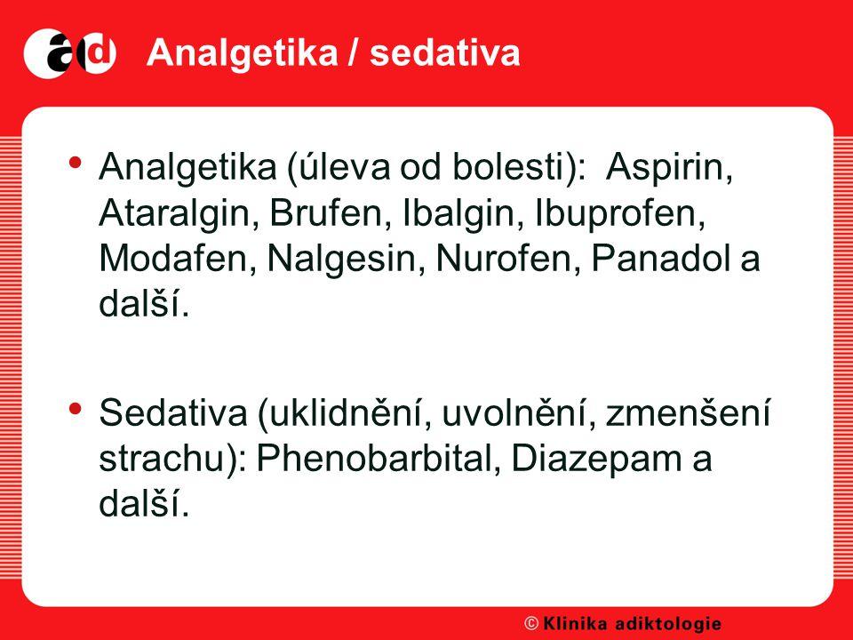 Analgetika / sedativa Analgetika (úleva od bolesti): Aspirin, Ataralgin, Brufen, Ibalgin, Ibuprofen, Modafen, Nalgesin, Nurofen, Panadol a další.