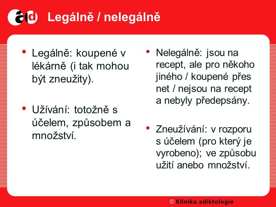Legálně / nelegálně Legálně: koupené v lékárně (i tak mohou být zneužity).