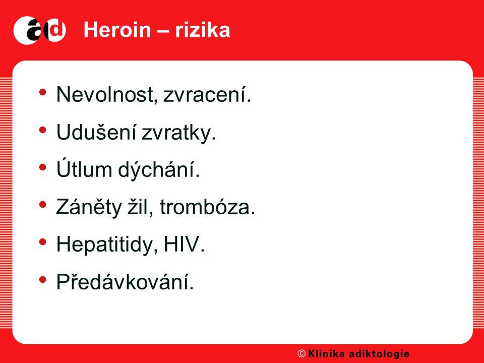 Heroin – rizika Nevolnost, zvracení.Udušení zvratky.