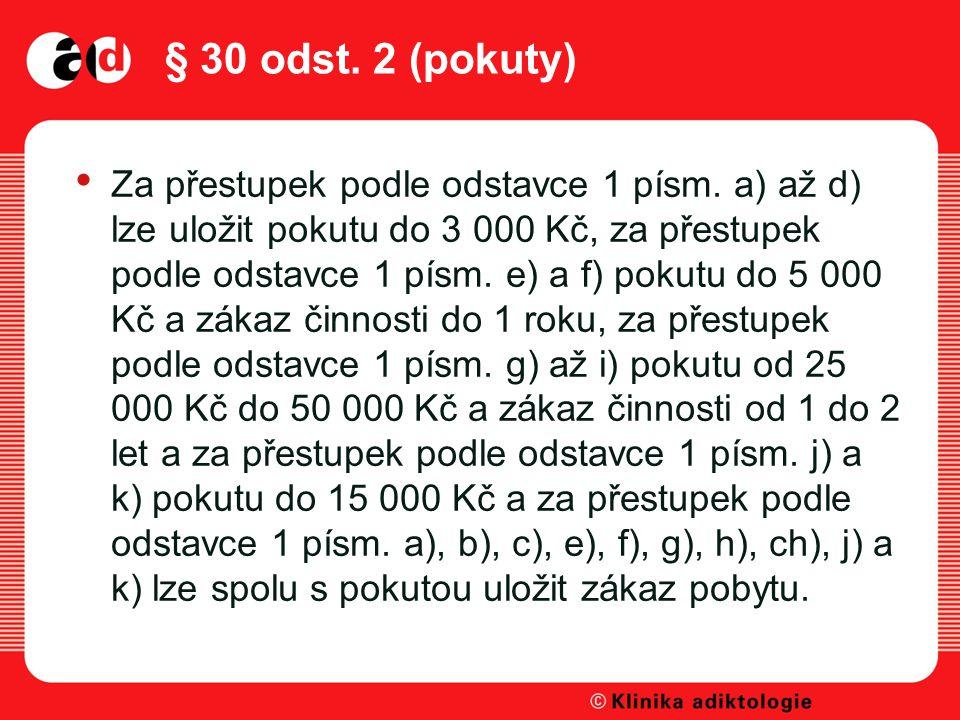 § 30 odst.2 (pokuty) Za přestupek podle odstavce 1 písm.