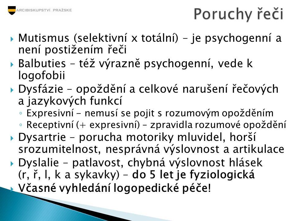  Mutismus (selektivní x totální) – je psychogenní a není postižením řeči  Balbuties – též výrazně psychogenní, vede k logofobii  Dysfázie – opožděn
