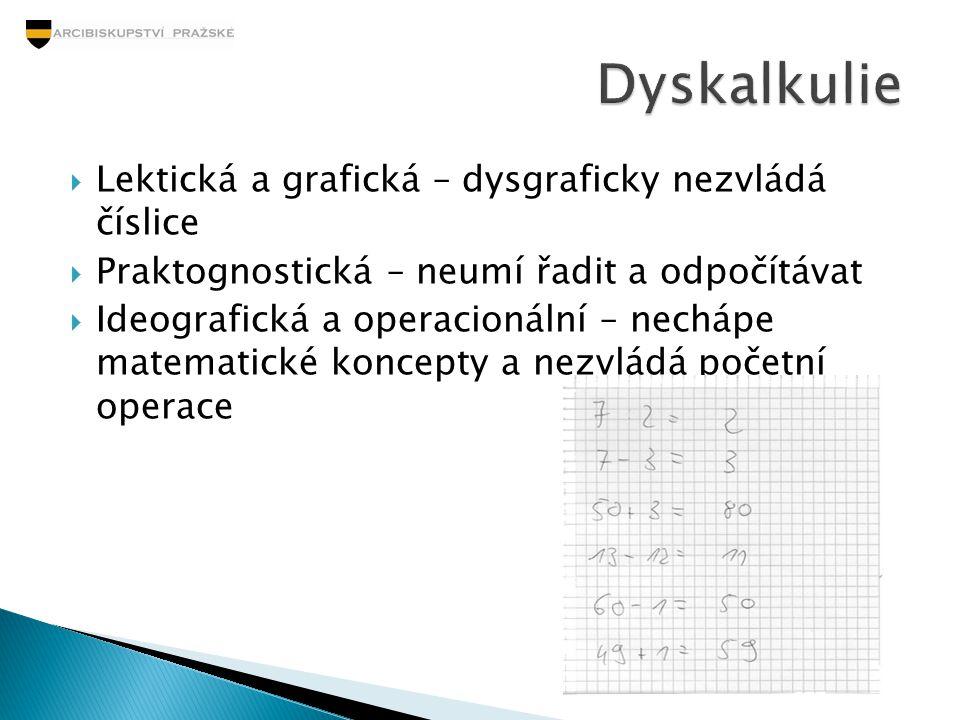  Lektická a grafická – dysgraficky nezvládá číslice  Praktognostická – neumí řadit a odpočítávat  Ideografická a operacionální – nechápe matematick