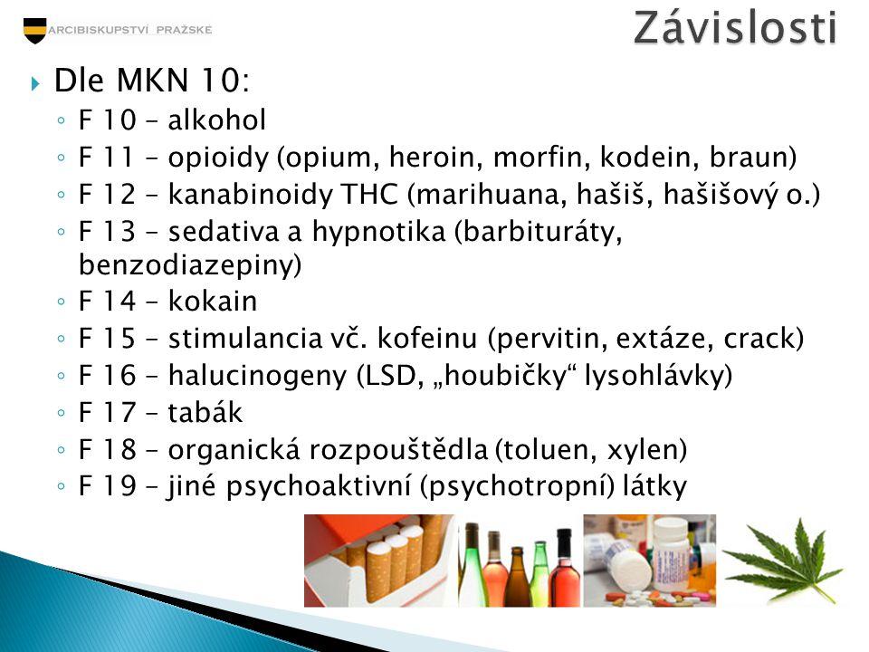  Dle MKN 10: ◦ F 10 – alkohol ◦ F 11 – opioidy (opium, heroin, morfin, kodein, braun) ◦ F 12 – kanabinoidy THC (marihuana, hašiš, hašišový o.) ◦ F 13
