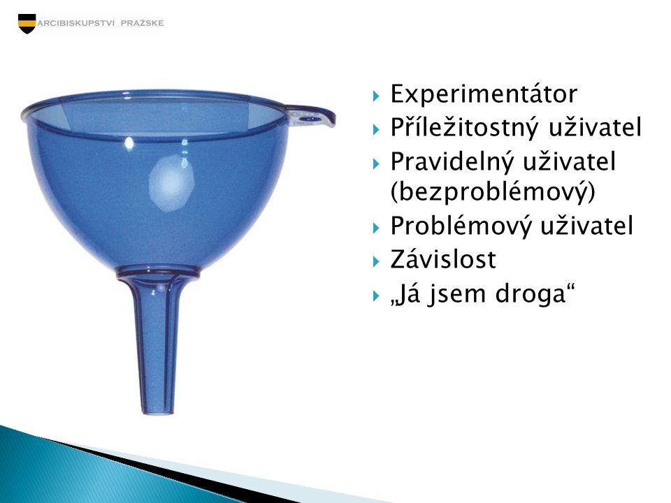 """ Experimentátor  Příležitostný uživatel  Pravidelný uživatel (bezproblémový)  Problémový uživatel  Závislost  """"Já jsem droga"""""""