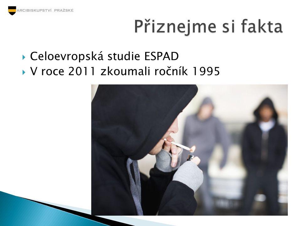  Celoevropská studie ESPAD  V roce 2011 zkoumali ročník 1995