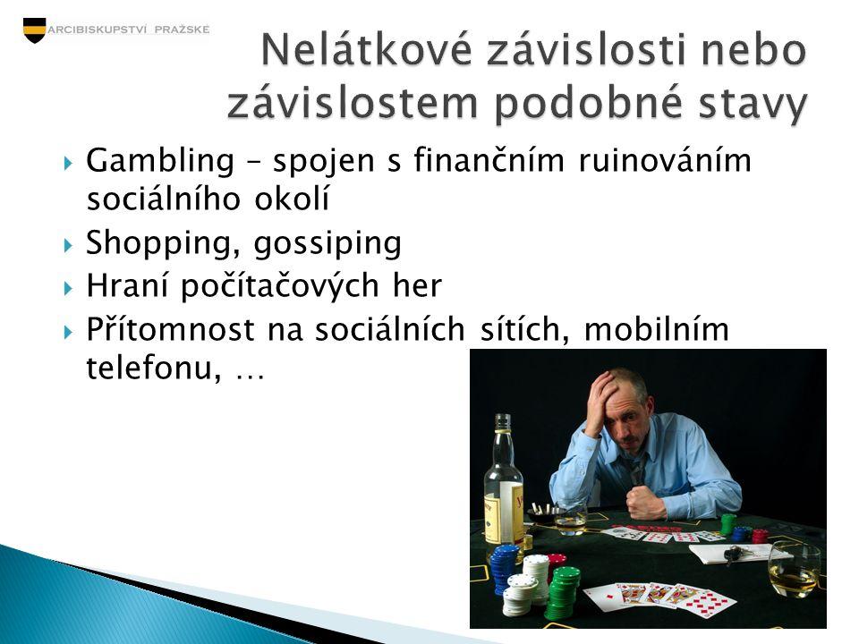 Gambling – spojen s finančním ruinováním sociálního okolí  Shopping, gossiping  Hraní počítačových her  Přítomnost na sociálních sítích, mobilním