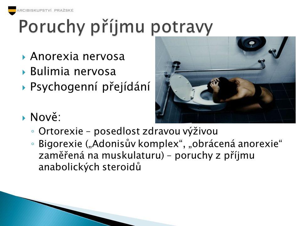""" Anorexia nervosa  Bulimia nervosa  Psychogenní přejídání  Nově: ◦ Ortorexie – posedlost zdravou výživou ◦ Bigorexie (""""Adonisův komplex"""", """"obrácen"""