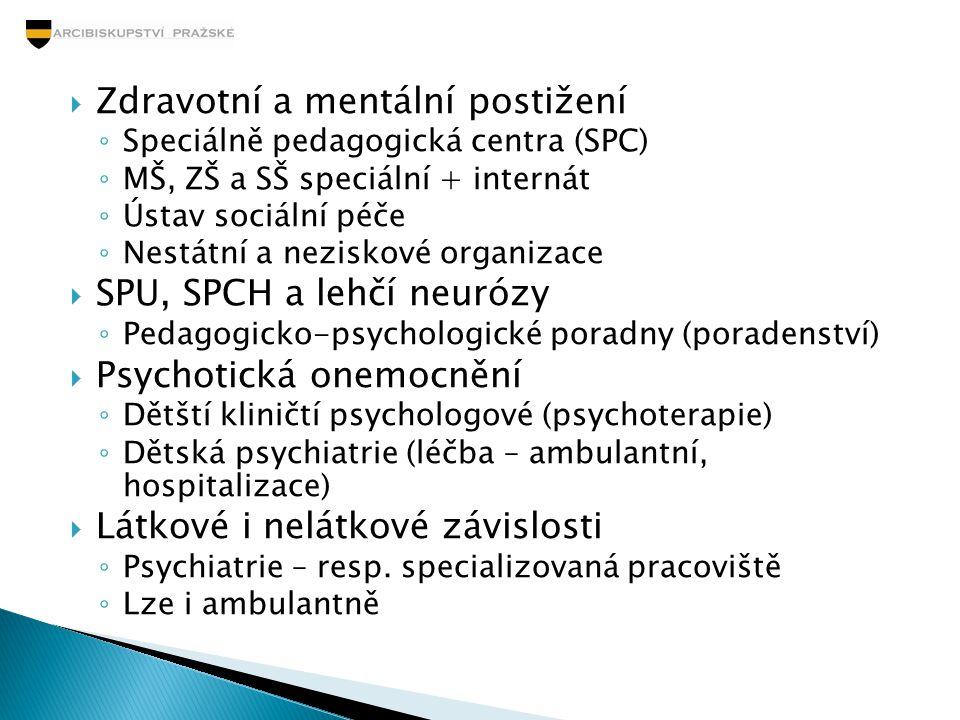  Zdravotní a mentální postižení ◦ Speciálně pedagogická centra (SPC) ◦ MŠ, ZŠ a SŠ speciální + internát ◦ Ústav sociální péče ◦ Nestátní a neziskové