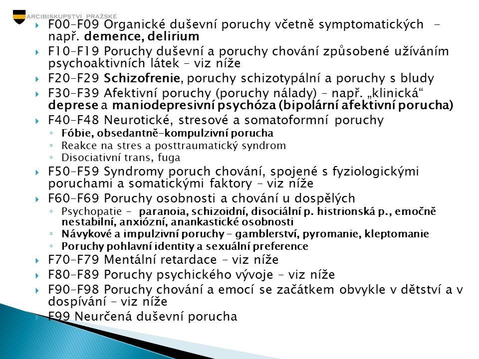  F00–F09 Organické duševní poruchy včetně symptomatických - např. demence, delirium  F10–F19 Poruchy duševní a poruchy chování způsobené užíváním ps