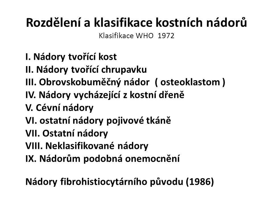 Rozdělení a klasifikace kostních nádorů Klasifikace WHO 1972 I. Nádory tvořící kost II. Nádory tvořící chrupavku III. Obrovskobuměčný nádor ( osteokla