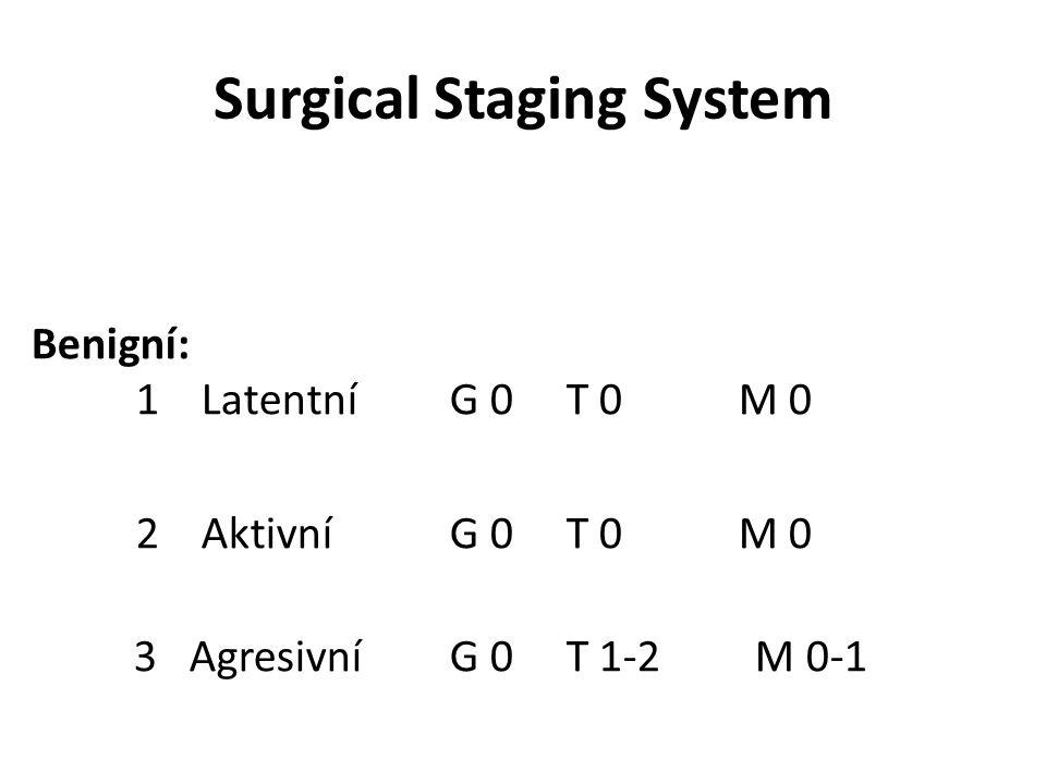 Surgical Staging System Benigní: 1 Latentní G 0 T 0 M 0 2 Aktivní G 0 T 0 M 0 3 Agresivní G 0 T 1-2 M 0-1