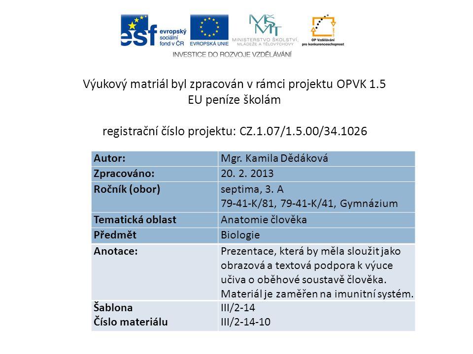 Autor: Mgr. Kamila Dědáková Zpracováno: 20. 2. 2013 Ročník (obor) septima, 3.