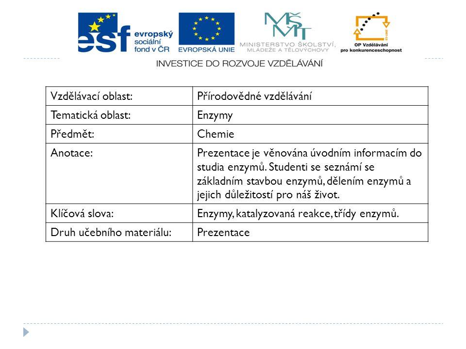 Vzdělávací oblast:Přírodovědné vzdělávání Tematická oblast:Enzymy Předmět:Chemie Anotace:Prezentace je věnována úvodním informacím do studia enzymů. S