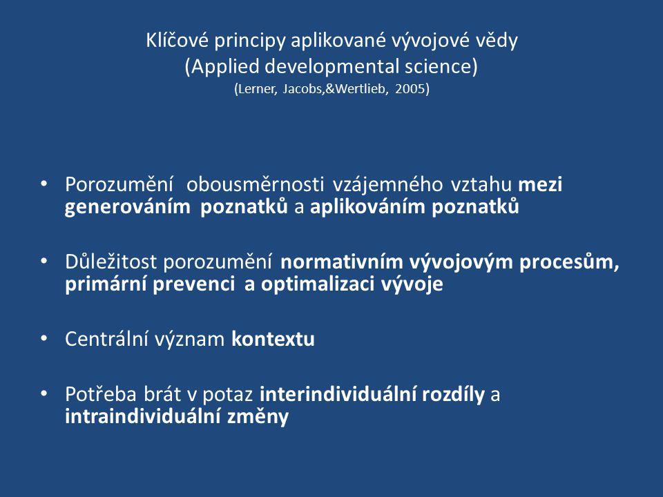 Klíčové principy aplikované vývojové vědy (Applied developmental science) (Lerner, Jacobs,&Wertlieb, 2005) Porozumění obousměrnosti vzájemného vztahu mezi generováním poznatků a aplikováním poznatků Důležitost porozumění normativním vývojovým procesům, primární prevenci a optimalizaci vývoje Centrální význam kontextu Potřeba brát v potaz interindividuální rozdíly a intraindividuální změny