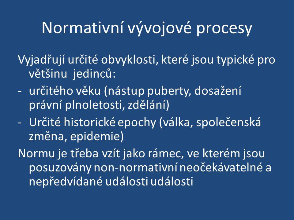Normativní vývojové procesy Vyjadřují určité obvyklosti, které jsou typické pro většinu jedinců: -určitého věku (nástup puberty, dosažení právní plnol
