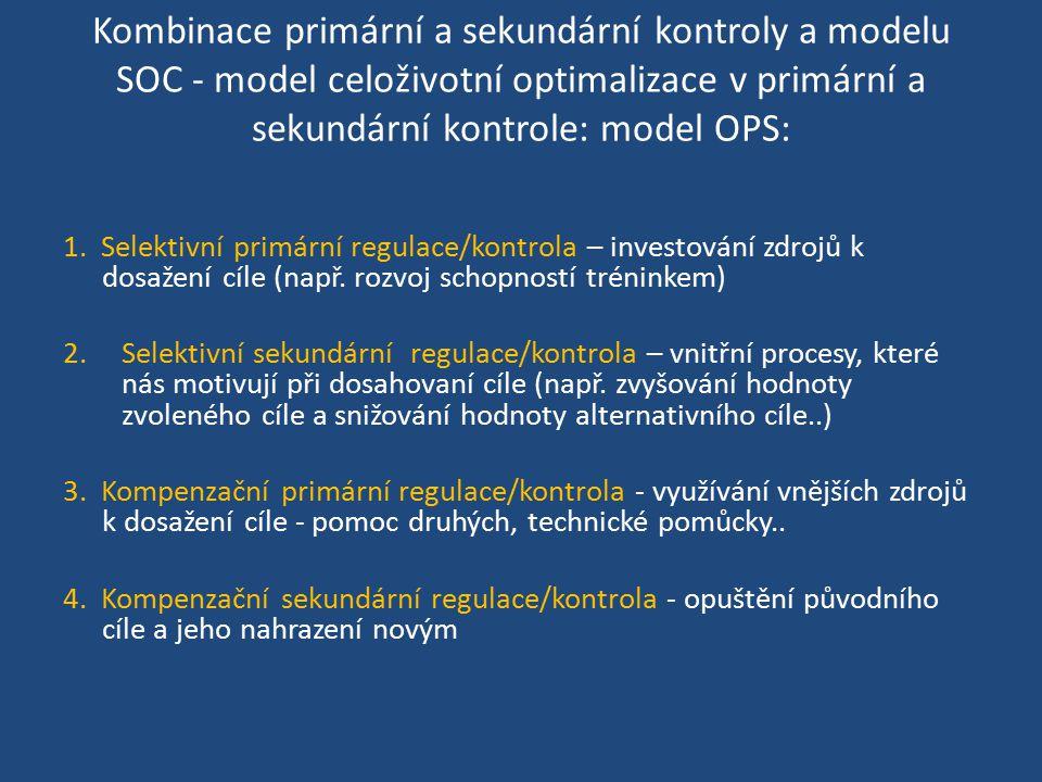 Kombinace primární a sekundární kontroly a modelu SOC - model celoživotní optimalizace v primární a sekundární kontrole: model OPS: 1. Selektivní prim