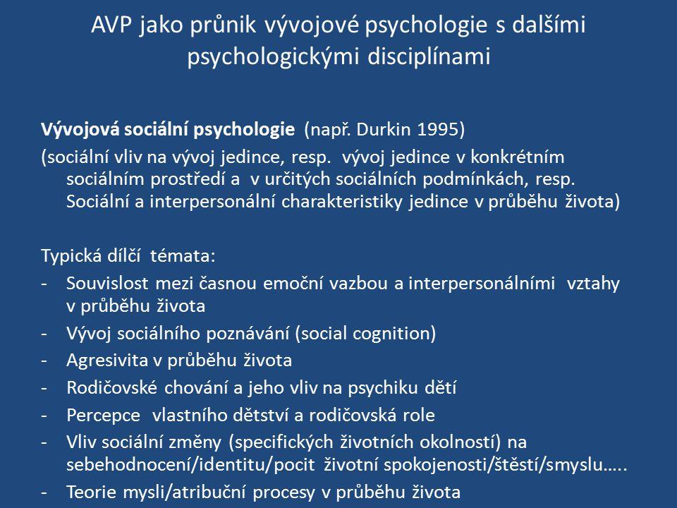 AVP jako průnik vývojové psychologie s dalšími psychologickými disciplínami Vývojová sociální psychologie (např. Durkin 1995) (sociální vliv na vývoj