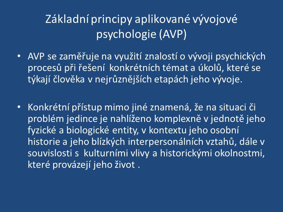 Základní principy aplikované vývojové psychologie (AVP) AVP se zaměřuje na využití znalostí o vývoji psychických procesů při řešení konkrétních témat a úkolů, které se týkají člověka v nejrůznějších etapách jeho vývoje.