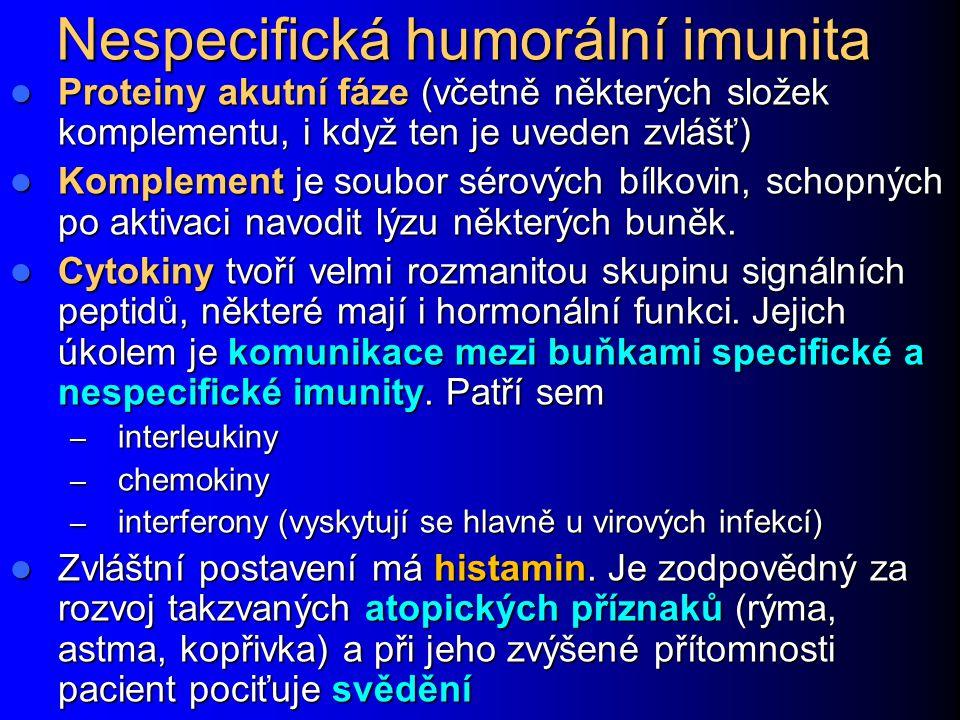 Nespecifická humorální imunita Proteiny akutní fáze (včetně některých složek komplementu, i když ten je uveden zvlášť) Proteiny akutní fáze (včetně ně