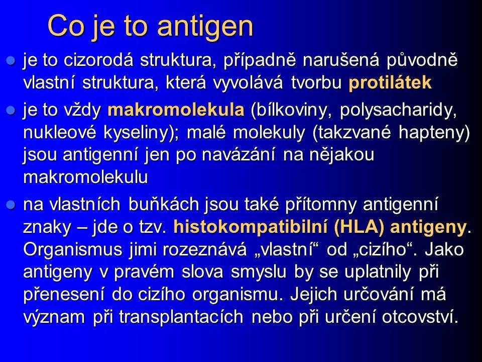 Co je to antigen je to cizorodá struktura, případně narušená původně vlastní struktura, která vyvolává tvorbu protilátek je to cizorodá struktura, pří