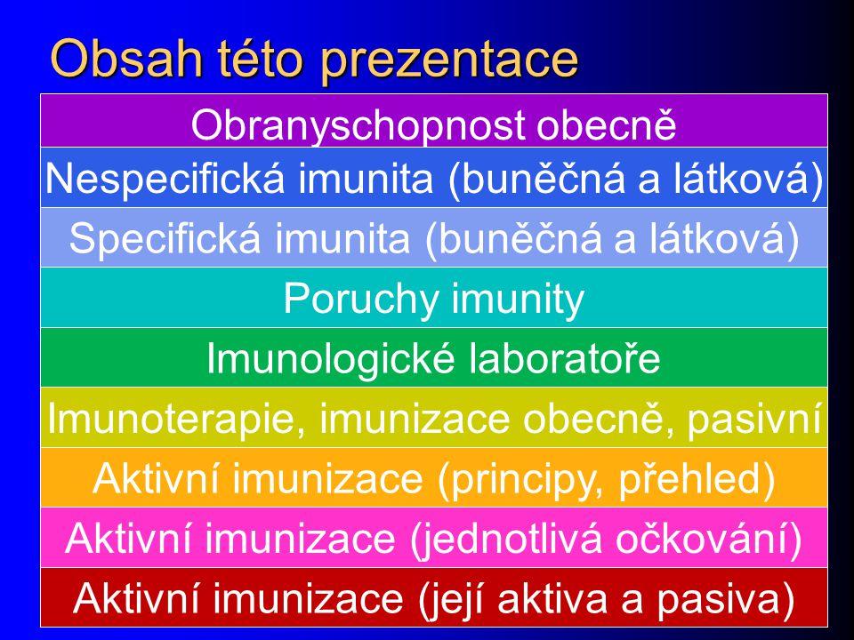 Obsah této prezentace Obranyschopnost obecně Nespecifická imunita (buněčná a látková) Specifická imunita (buněčná a látková) Poruchy imunity Imunologické laboratoře Imunoterapie, imunizace obecně, pasivní Aktivní imunizace (principy, přehled) Aktivní imunizace (jednotlivá očkování) Aktivní imunizace (její aktiva a pasiva)