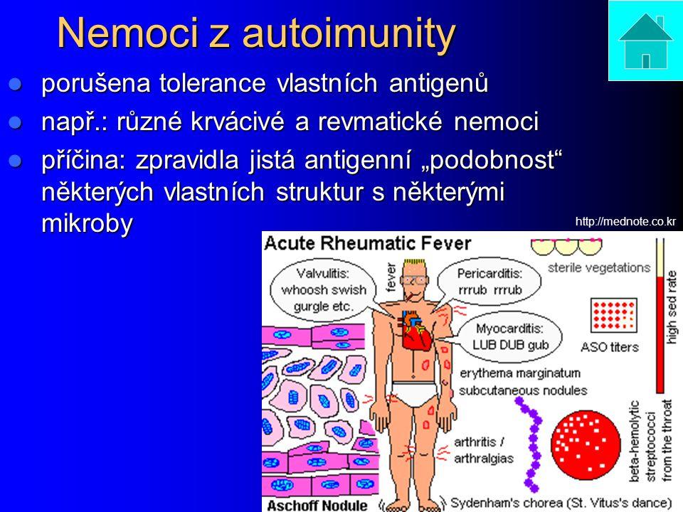 """Nemoci z autoimunity porušena tolerance vlastních antigenů porušena tolerance vlastních antigenů např.: různé krvácivé a revmatické nemoci např.: různé krvácivé a revmatické nemoci příčina: zpravidla jistá antigenní """"podobnost některých vlastních struktur s některými mikroby příčina: zpravidla jistá antigenní """"podobnost některých vlastních struktur s některými mikroby http://mednote.co.kr"""