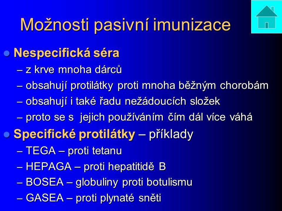Možnosti pasivní imunizace Nespecifická séra Nespecifická séra – z krve mnoha dárců – obsahují protilátky proti mnoha běžným chorobám – obsahují i tak