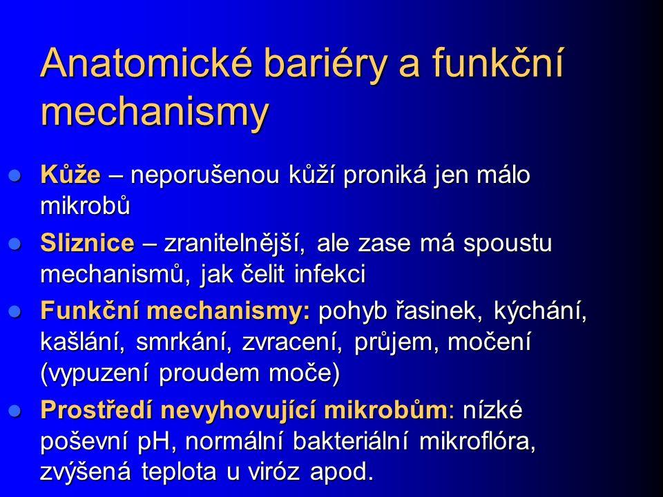 Anatomické bariéry a funkční mechanismy Kůže – neporušenou kůží proniká jen málo mikrobů Kůže – neporušenou kůží proniká jen málo mikrobů Sliznice – zranitelnější, ale zase má spoustu mechanismů, jak čelit infekci Sliznice – zranitelnější, ale zase má spoustu mechanismů, jak čelit infekci Funkční mechanismy: pohyb řasinek, kýchání, kašlání, smrkání, zvracení, průjem, močení (vypuzení proudem moče) Funkční mechanismy: pohyb řasinek, kýchání, kašlání, smrkání, zvracení, průjem, močení (vypuzení proudem moče) Prostředí nevyhovující mikrobům: nízké poševní pH, normální bakteriální mikroflóra, zvýšená teplota u viróz apod.