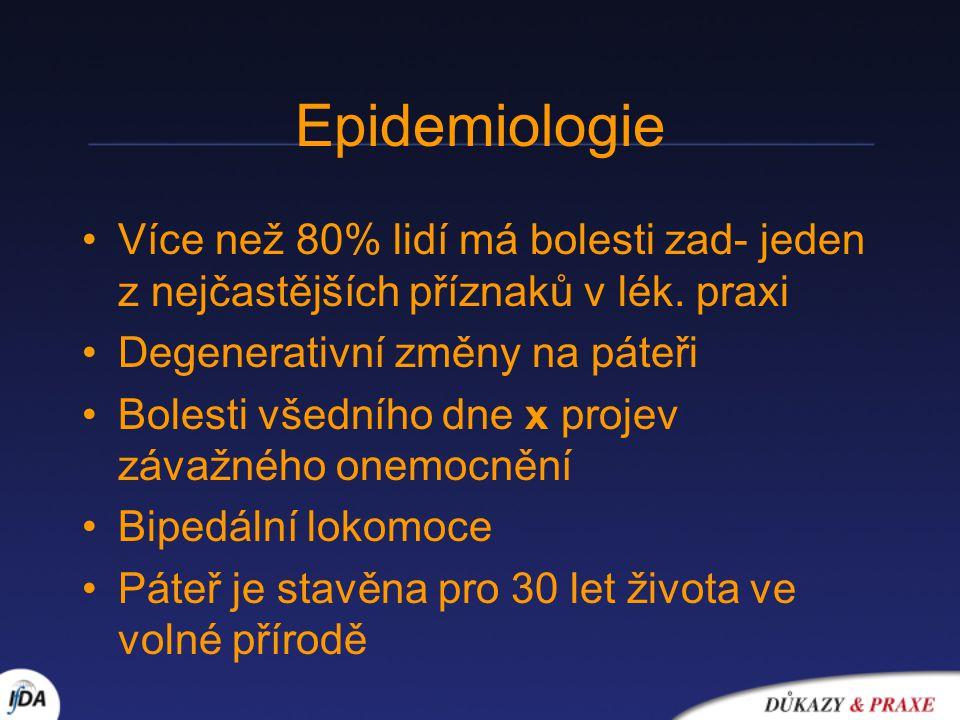 Epidemiologie Více než 80% lidí má bolesti zad- jeden z nejčastějších příznaků v lék. praxi Degenerativní změny na páteři Bolesti všedního dne x proje