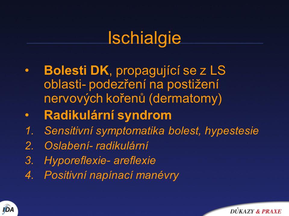 Ischialgie Bolesti DK, propagující se z LS oblasti- podezření na postižení nervových kořenů (dermatomy) Radikulární syndrom 1.Sensitivní symptomatika