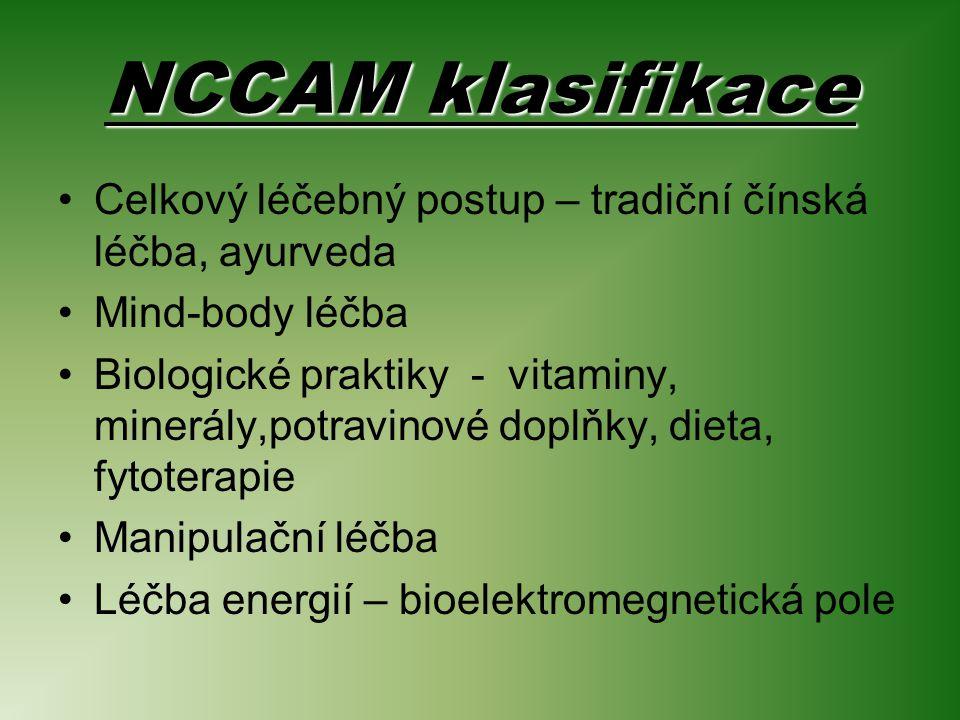 NCCAM klasifikace Celkový léčebný postup – tradiční čínská léčba, ayurveda Mind-body léčba Biologické praktiky - vitaminy, minerály,potravinové doplňky, dieta, fytoterapie Manipulační léčba Léčba energií – bioelektromegnetická pole