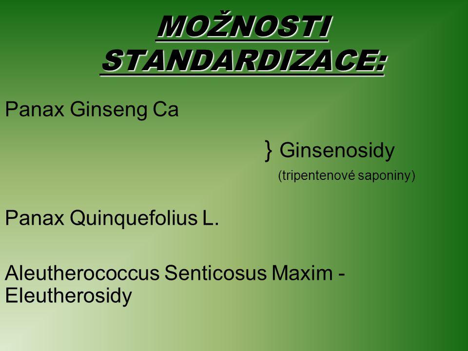 MOŽNOSTI STANDARDIZACE: Panax Ginseng Ca } Ginsenosidy (tripentenové saponiny) Panax Quinquefolius L.